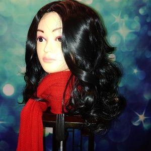 Black wavy wig medium length #714